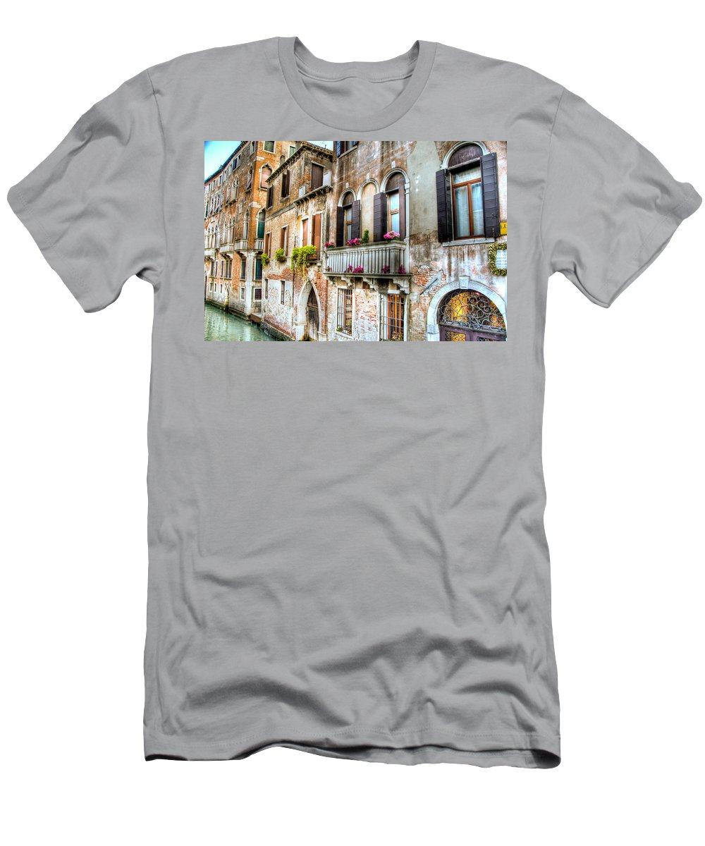 Venice Men's T-Shirt (Athletic Fit) featuring the photograph Flower Balcony by Jon Berghoff
