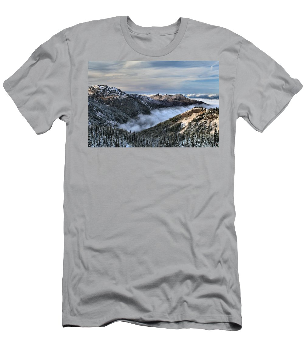 Hurricane Ridge Men's T-Shirt (Athletic Fit) featuring the photograph Fog In The Valley by Adam Jewell