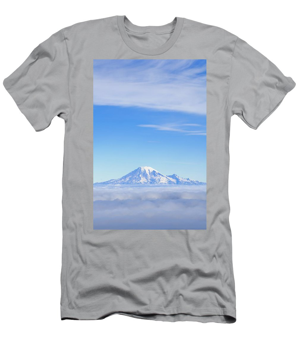 Cloudy Men's T-Shirt (Athletic Fit) featuring the photograph Fog, Mount Rainier, Washington by Dan Sherwood