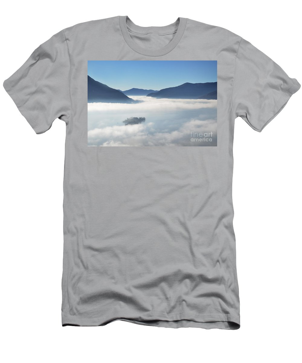 Fog Men's T-Shirt (Athletic Fit) featuring the photograph Fog Over Islands by Mats Silvan
