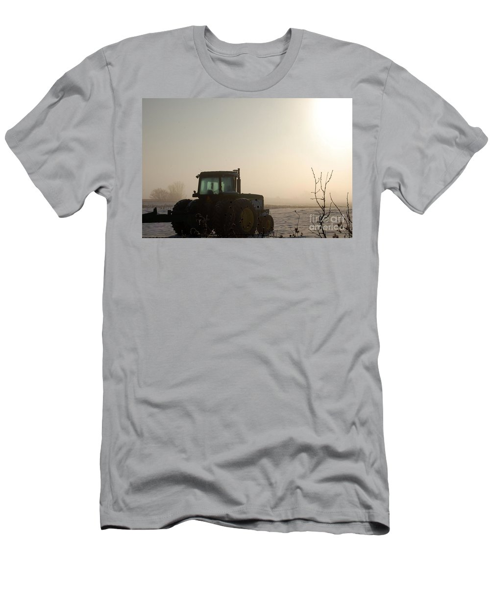 Tractor Men's T-Shirt (Athletic Fit) featuring the photograph Foggy Morn by Anjanette Douglas