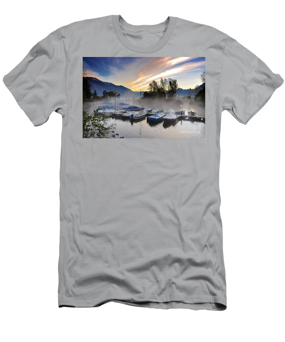 Port Men's T-Shirt (Athletic Fit) featuring the photograph Foggy Port In Sunrise by Mats Silvan