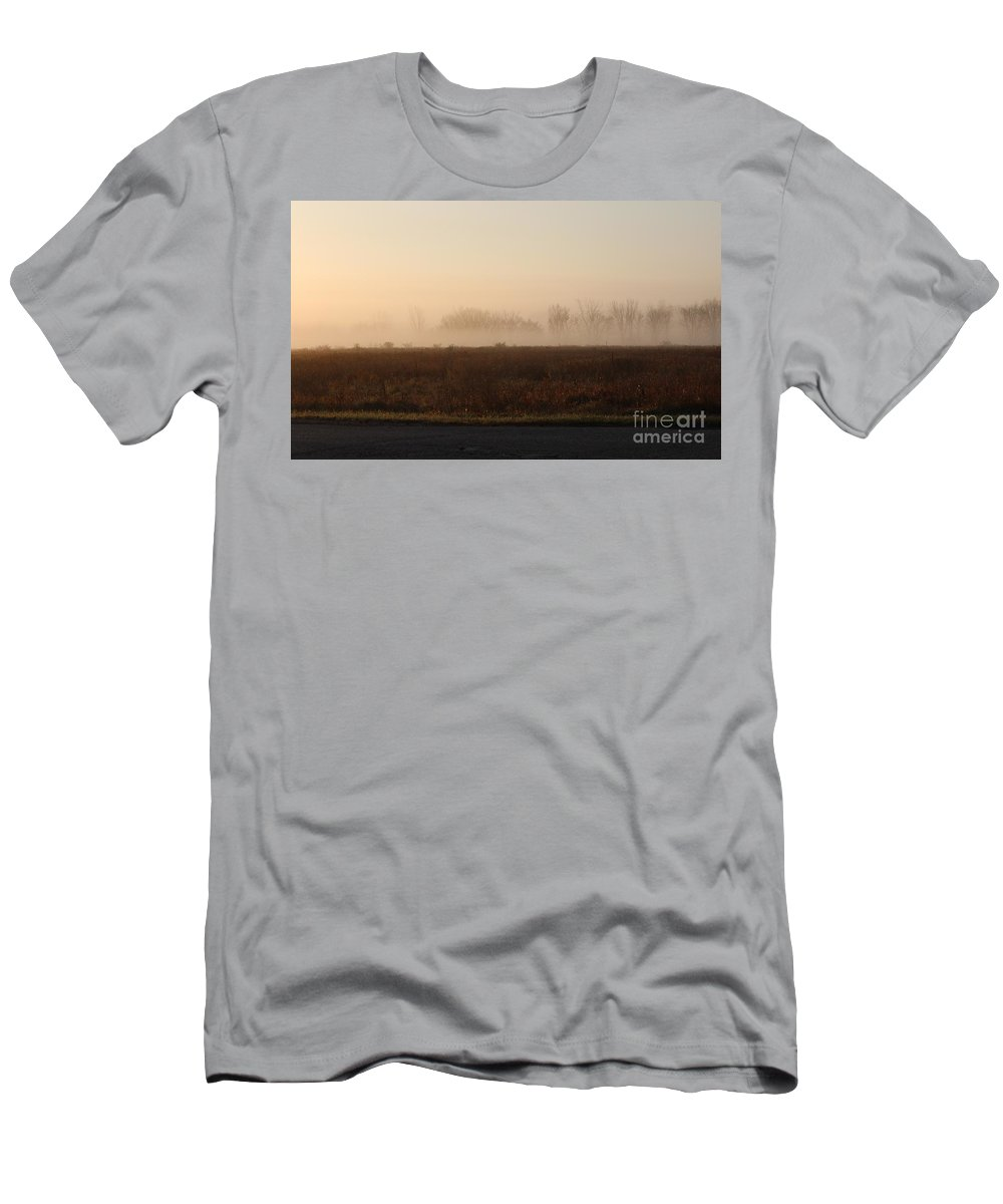 Fog Men's T-Shirt (Athletic Fit) featuring the photograph Foggy Road by Stephanie Kripa