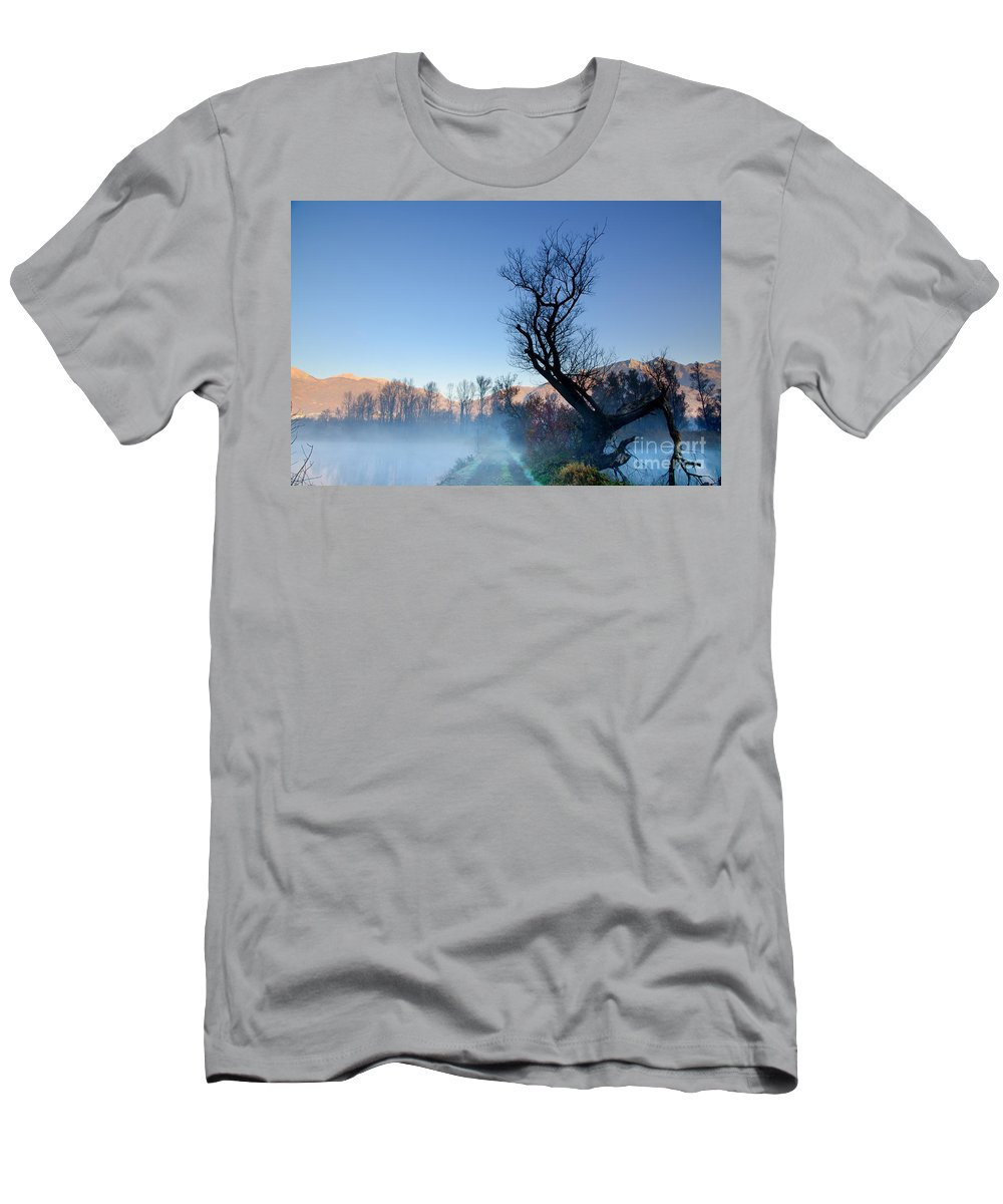 Road Men's T-Shirt (Athletic Fit) featuring the photograph Foggy Road With A Tree by Mats Silvan