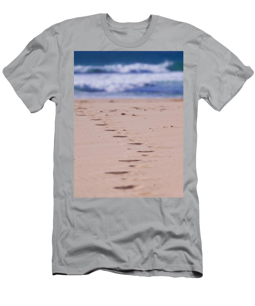 Beach Men's T-Shirt (Athletic Fit) featuring the photograph Footprints by Michelle Wrighton