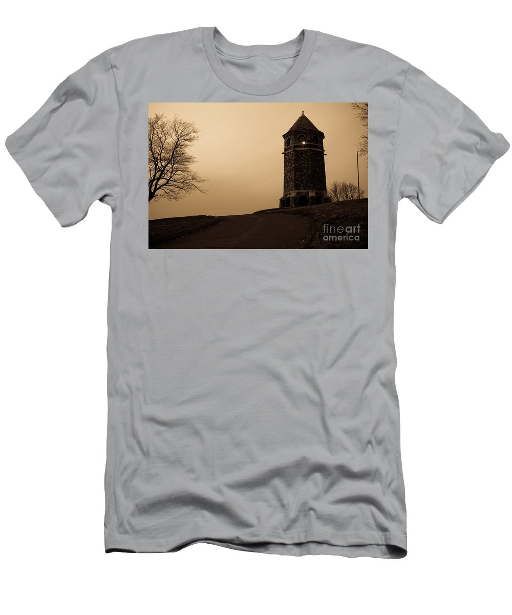 Stone Men's T-Shirt (Athletic Fit) featuring the photograph Fox Hill Tower by Kyle Lee