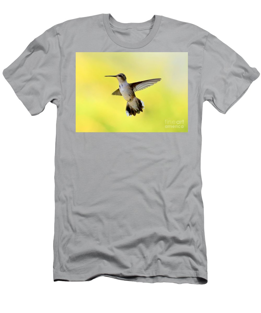 Hummingbird Men's T-Shirt (Athletic Fit) featuring the photograph Free As A Bird by Carol Groenen