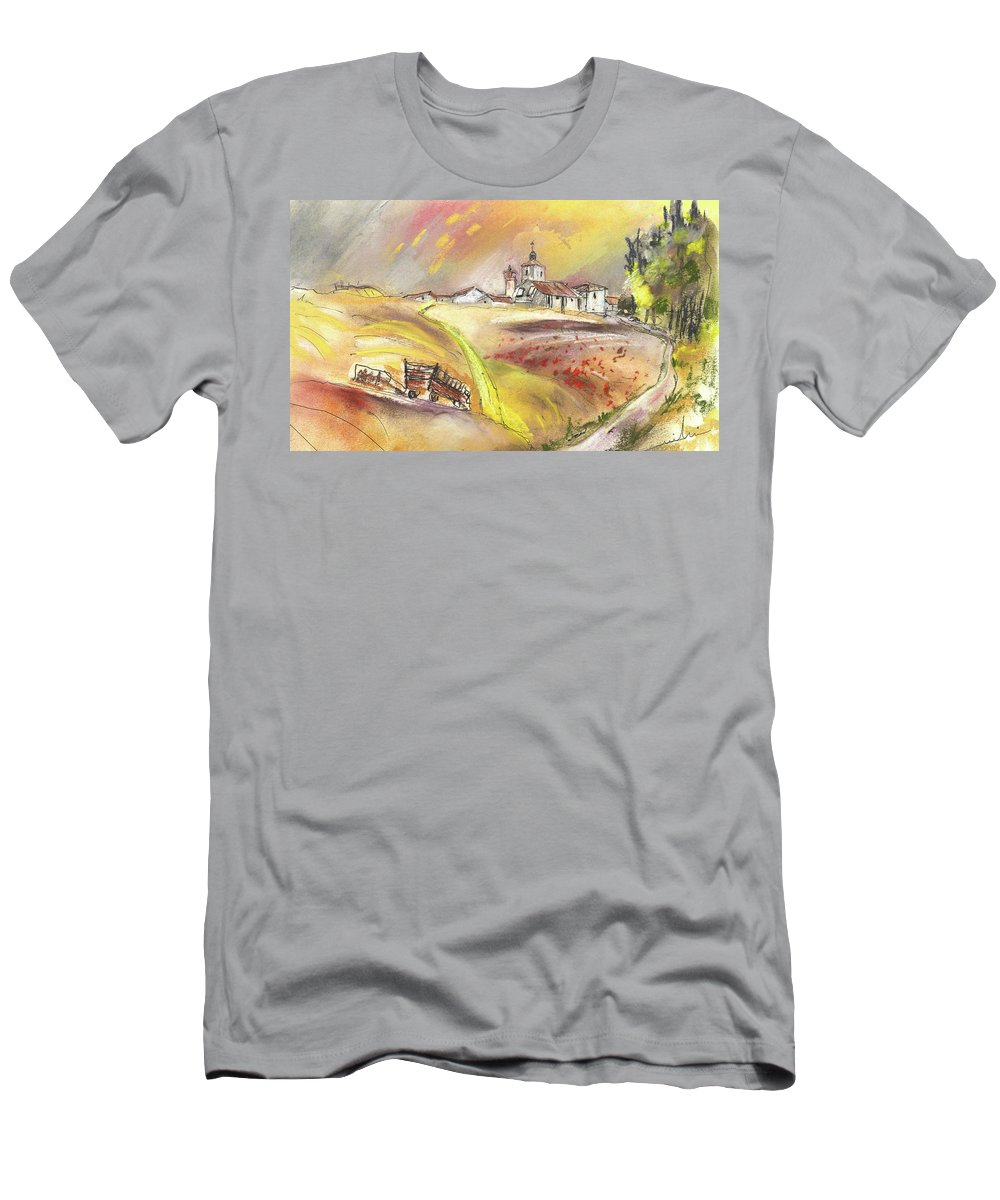 Spain Men's T-Shirt (Athletic Fit) featuring the painting Fuente Del Cuellar In Spain by Miki De Goodaboom
