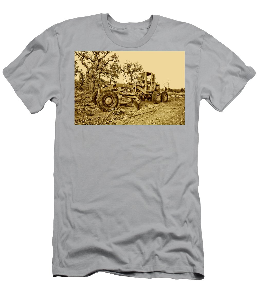 Galion Road Grader Men's T-Shirt (Athletic Fit) featuring the photograph Galion Road Grader V2 by Douglas Barnard