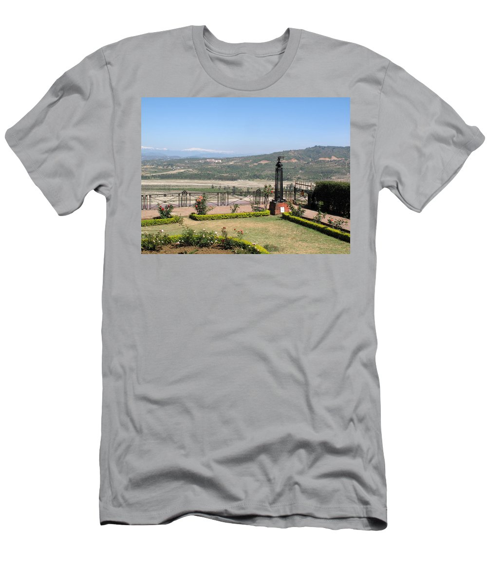 Garden Men's T-Shirt (Athletic Fit) featuring the photograph Garden With Some Beautiful Roses Overlooking A Valley With Snow Capped Mountains In The Background by Ashish Agarwal
