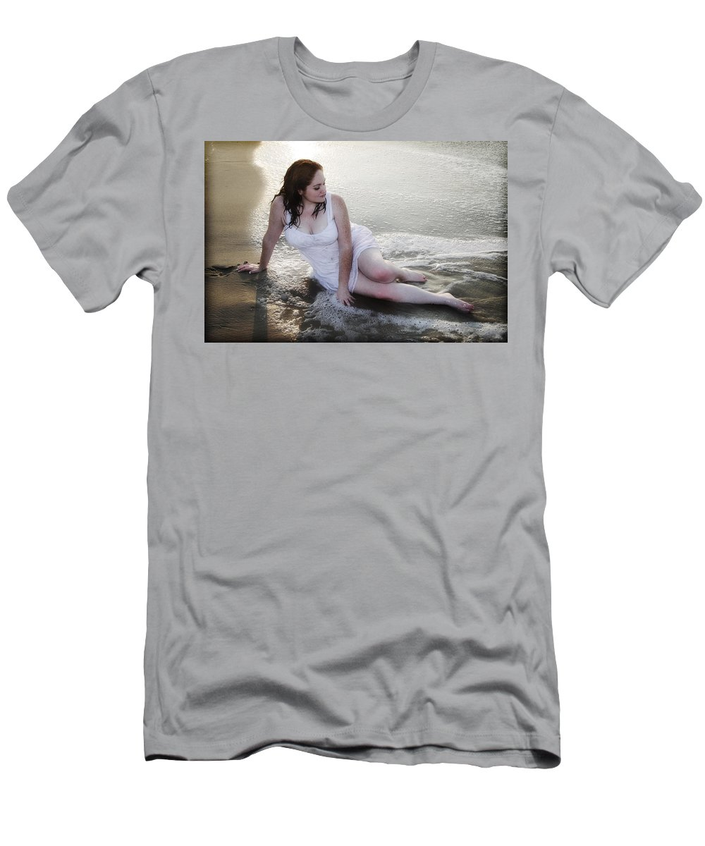 Beach Men's T-Shirt (Athletic Fit) featuring the photograph Girl In The Surf by Rick Berk