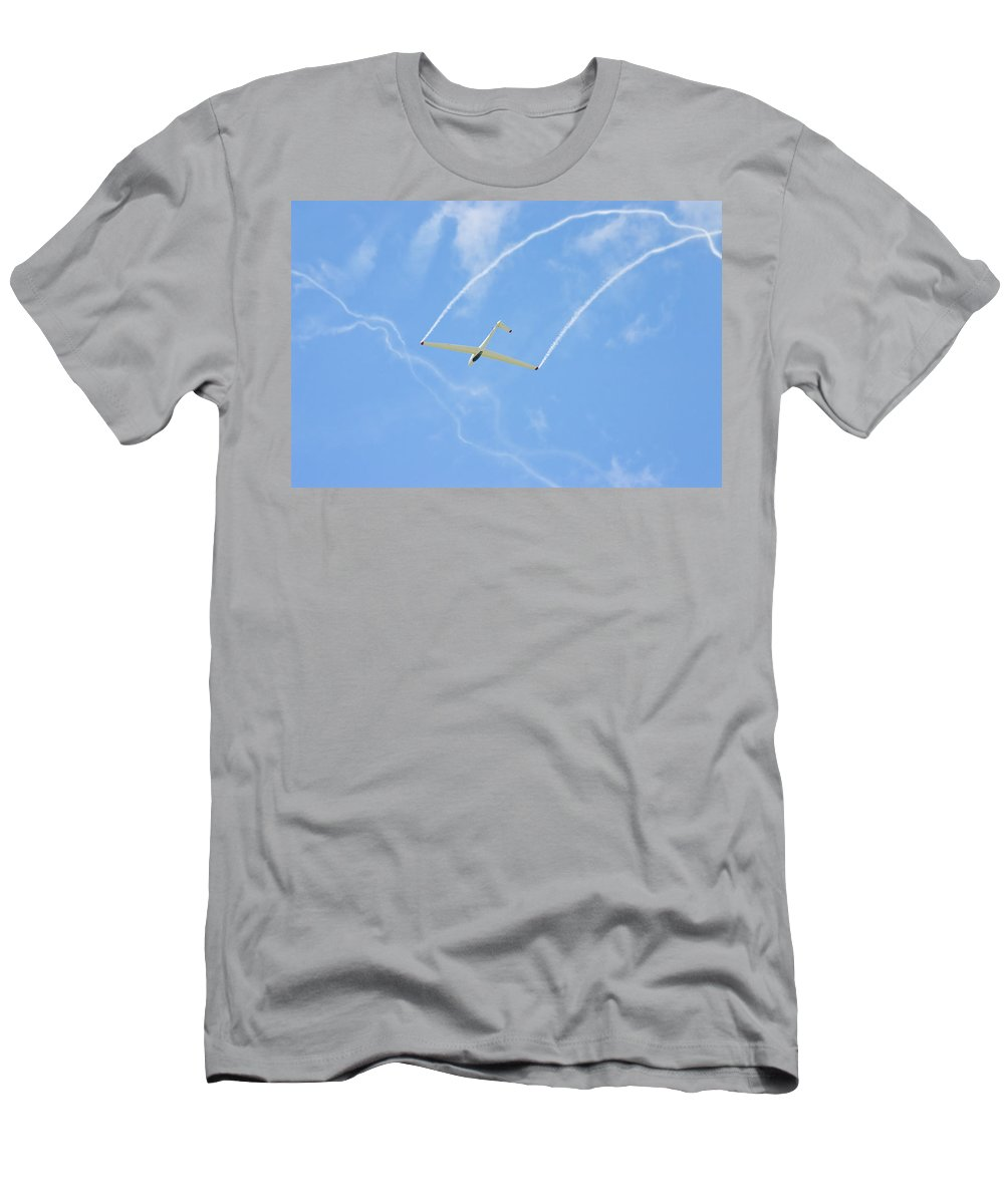 Plane Men's T-Shirt (Athletic Fit) featuring the photograph Glider Aerobatics Against Blue Sky Canvas Poster Photo Print by Keith Webber Jr
