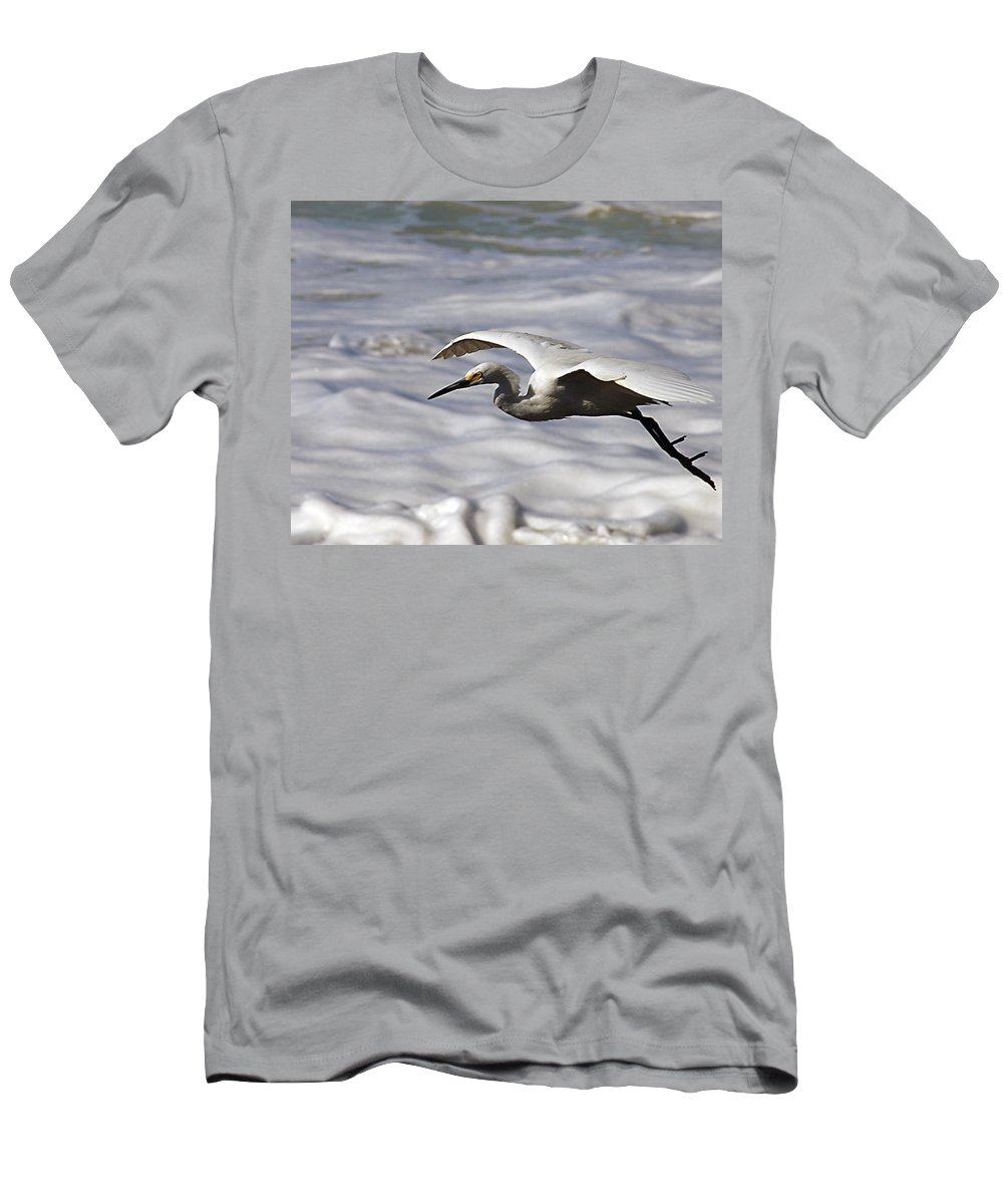 Egret Men's T-Shirt (Athletic Fit) featuring the photograph Gliding Snowy Egret by Joe Schofield