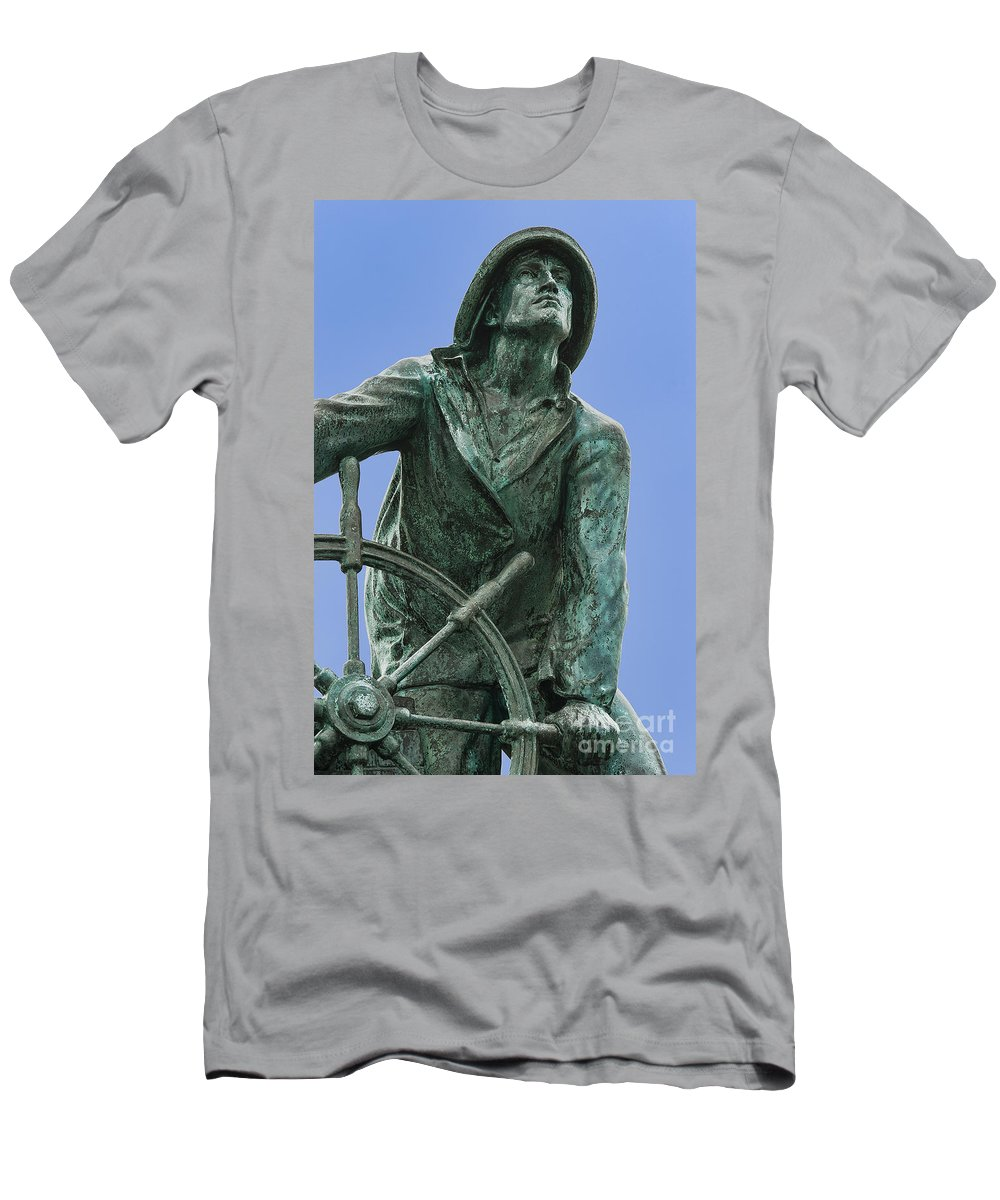 they That Go Down To The Sea In Ships Men's T-Shirt (Athletic Fit) featuring the photograph Gloucester Fisherman's Memorial by John Greim