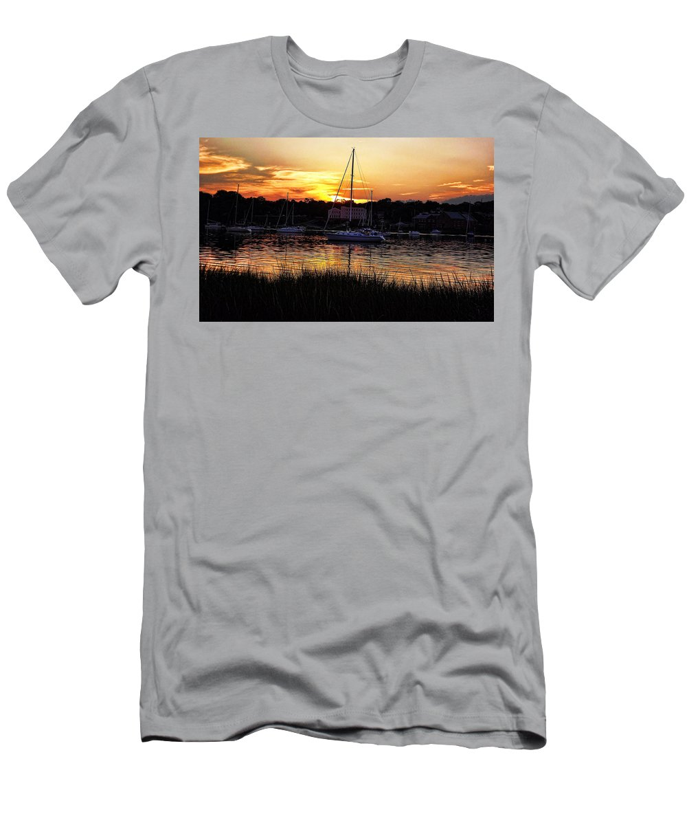 Marina Photographs Men's T-Shirt (Athletic Fit) featuring the photograph Goddard Marina by Lourry Legarde