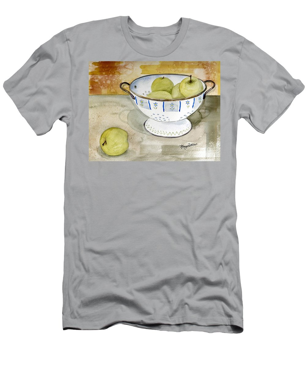 Yellow Apples Men's T-Shirt (Athletic Fit) featuring the painting Golden Apples by Nancy Patterson