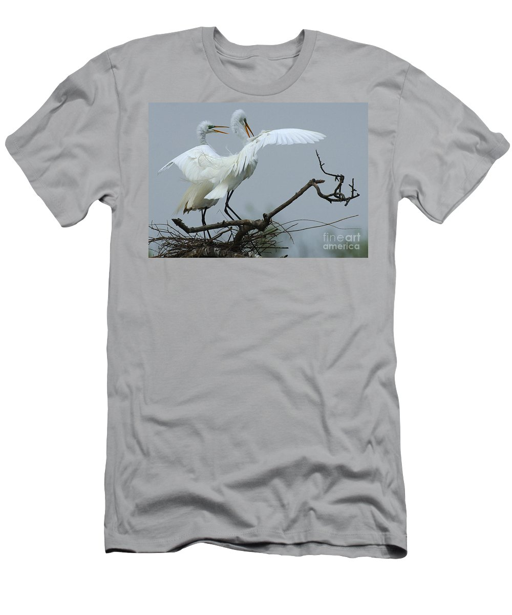 Great Egret Pair Men's T-Shirt (Athletic Fit) featuring the photograph Great Egret Pair by Bob Christopher