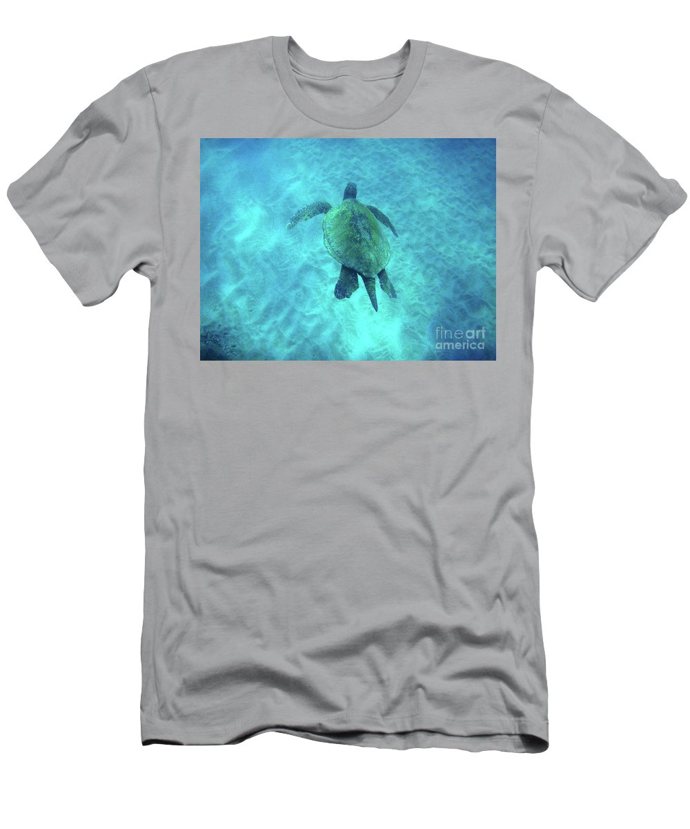 Green Men's T-Shirt (Athletic Fit) featuring the photograph Green Sea Turtle 2 by Bob Christopher