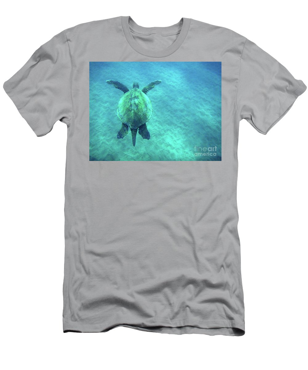 Green Men's T-Shirt (Athletic Fit) featuring the photograph Green Sea Turtle 3 by Bob Christopher