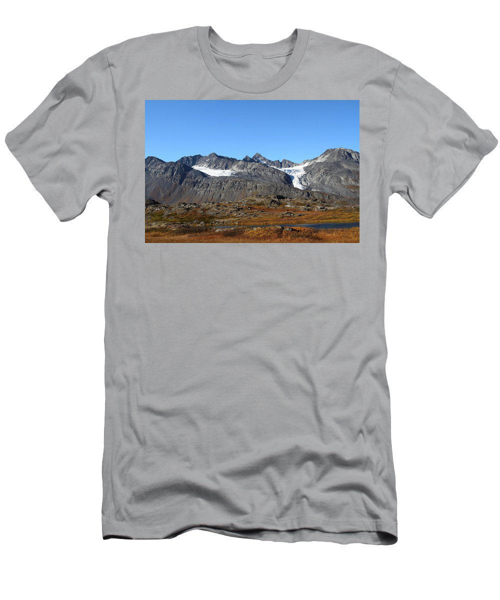 Doug Lloyd Men's T-Shirt (Athletic Fit) featuring the photograph Hanging Glacier by Doug Lloyd