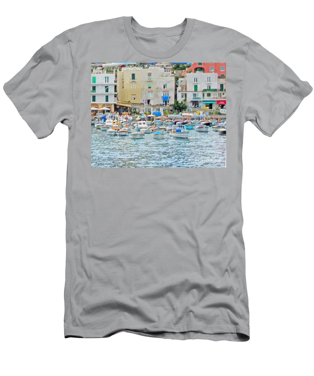 Capri Men's T-Shirt (Athletic Fit) featuring the photograph Harbor At Isle Of Capri by Jack Schultz