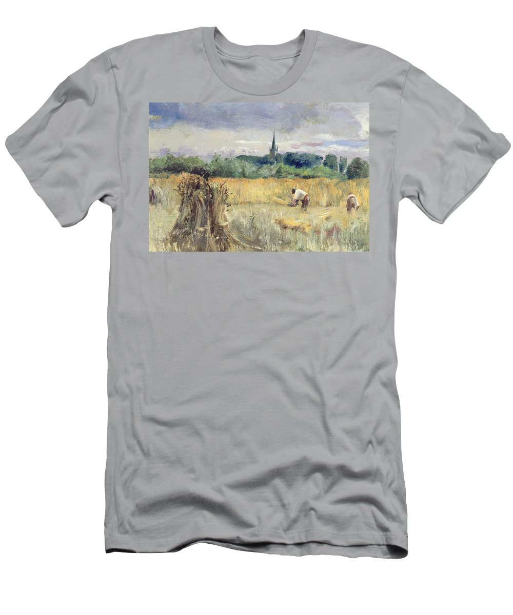 Harvest Field Men's T-Shirt (Athletic Fit) featuring the painting Harvest Field At Stratford Upon Avon by John William Inchbold