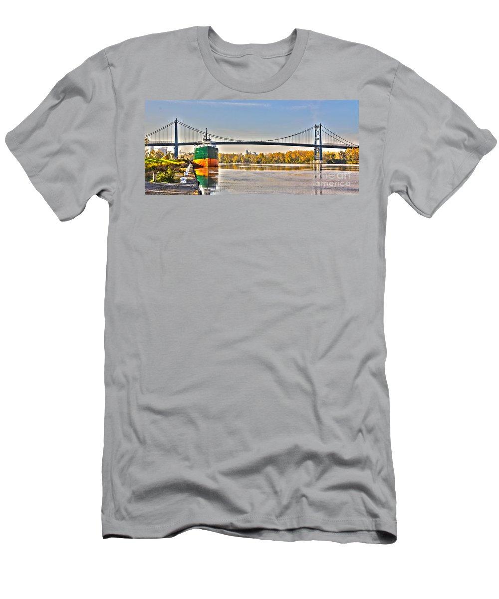 Toledo Ohio Men's T-Shirt (Athletic Fit) featuring the photograph Hi-level Bridge by Jack Schultz