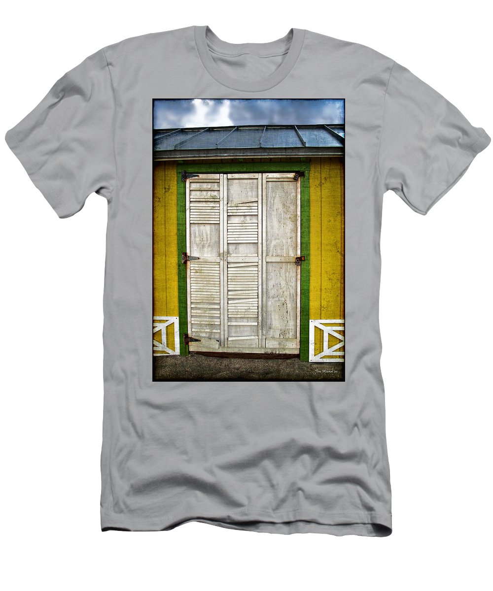 \holliwood Beach Door\ Men's T-Shirt (Athletic Fit) featuring the photograph Holliwood Beach Door by Joan Minchak