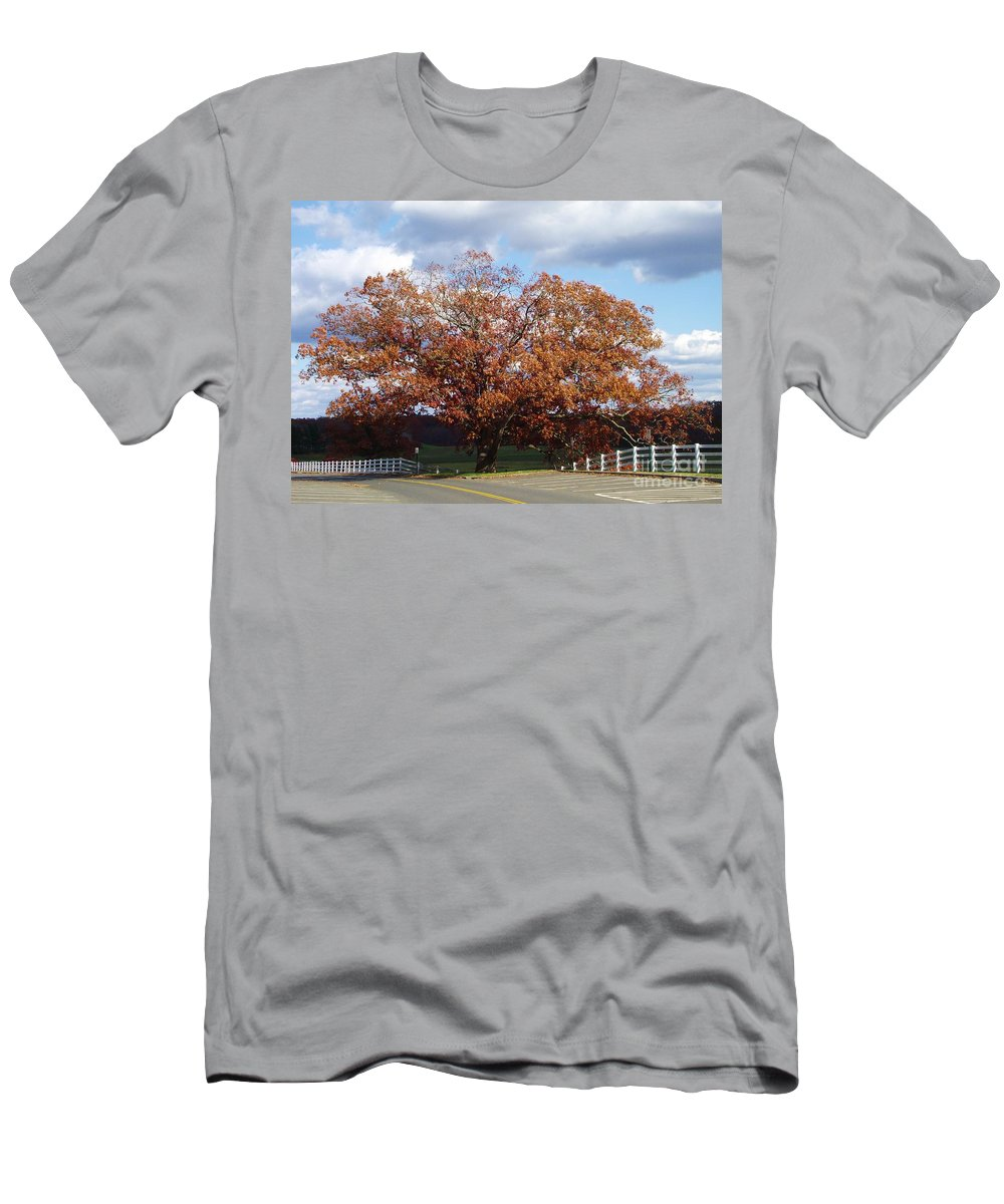 Giant Oak Tree Men's T-Shirt (Athletic Fit) featuring the photograph Horse Barn Hill In Autumn by Michelle Welles