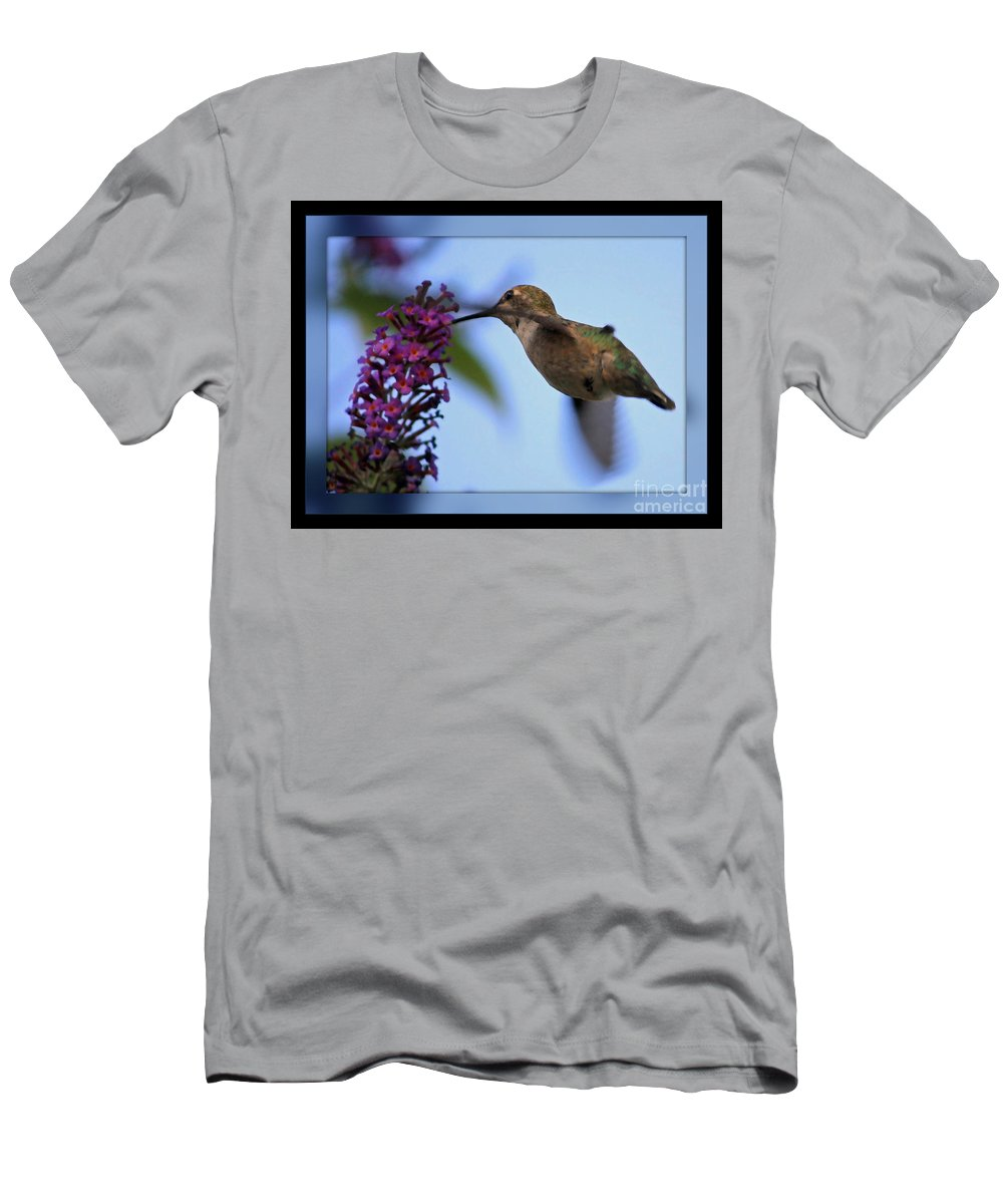 Hummingbird Men's T-Shirt (Athletic Fit) featuring the photograph Hummingbird With Blue Border - Digital Painting by Carol Groenen