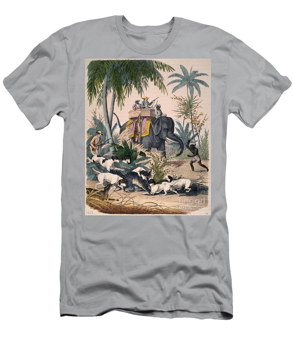 1852 Men's T-Shirt (Athletic Fit) featuring the photograph Hunting: Big Game, 1852 by Granger