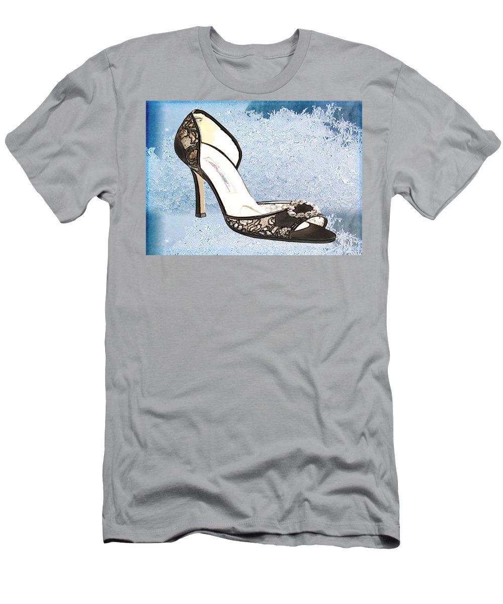 Shoes Heels Pumps Fashion Designer Feet Foot Shoe Men's T-Shirt (Athletic Fit) featuring the painting Ice Princess Lace Pumps by Elaine Plesser