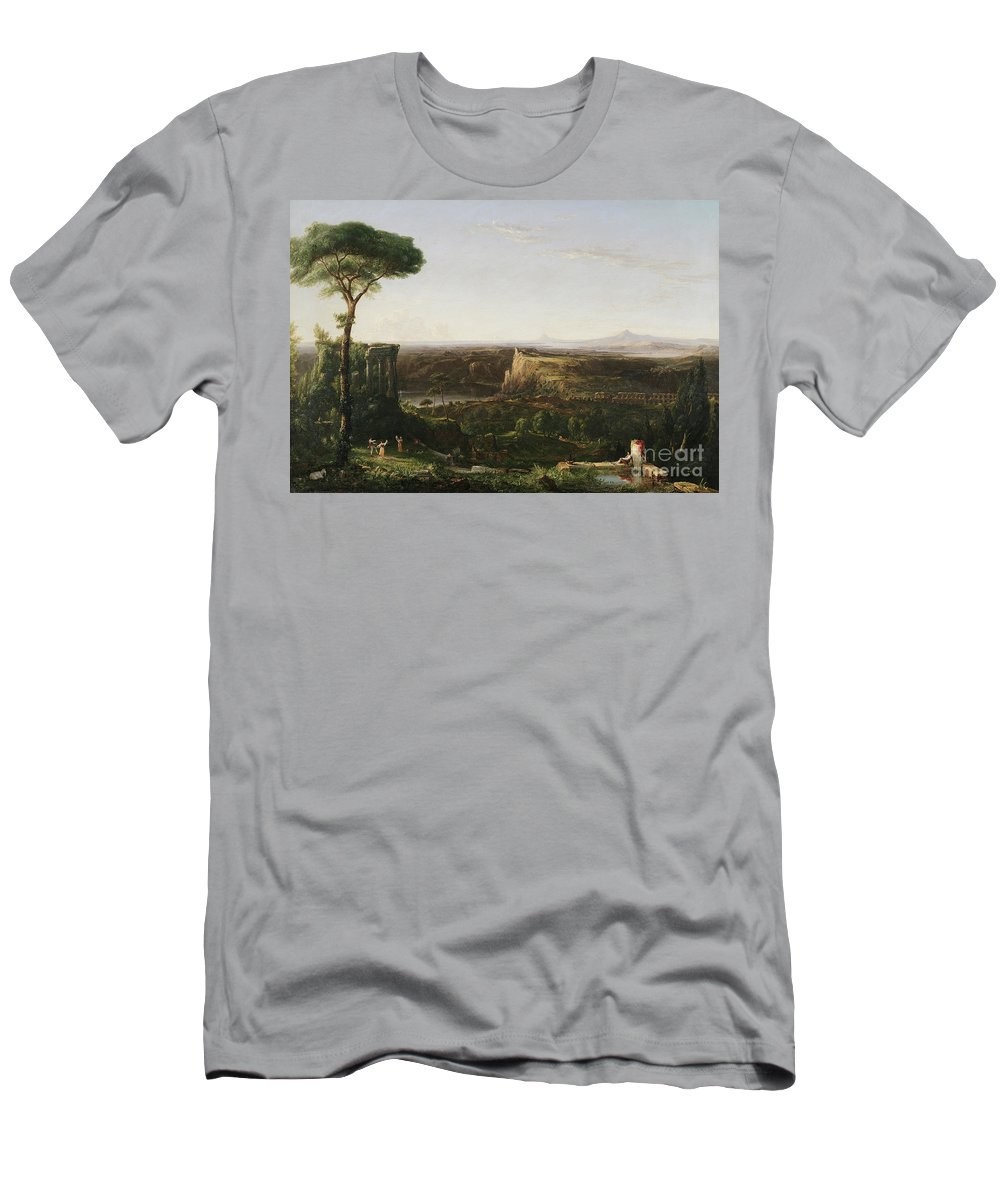 Italianate; Landscape; Classical; Ruin; Ruins; Archeological; Countryside; Rural; Roman; Umbrella Pine Tree; Cypress Trees; Rustic; Figure; Figures; Dance; Dancer; Dancers; Dancing; Utopian; Hudson River School; Cole Men's T-Shirt (Athletic Fit) featuring the painting Italian Scene Composition by Thomas Cole