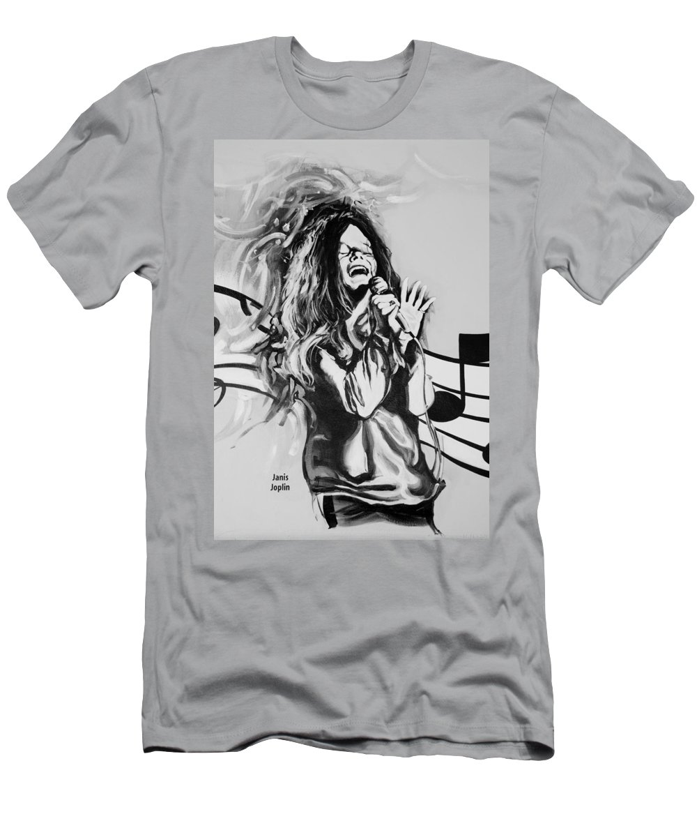 Janis Joplin Men's T-Shirt (Athletic Fit) featuring the photograph Janis In Black And White by Rob Hans