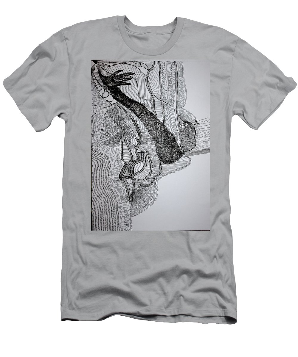 Jesus Men's T-Shirt (Athletic Fit) featuring the drawing Kiganda Dance by Gloria Ssali