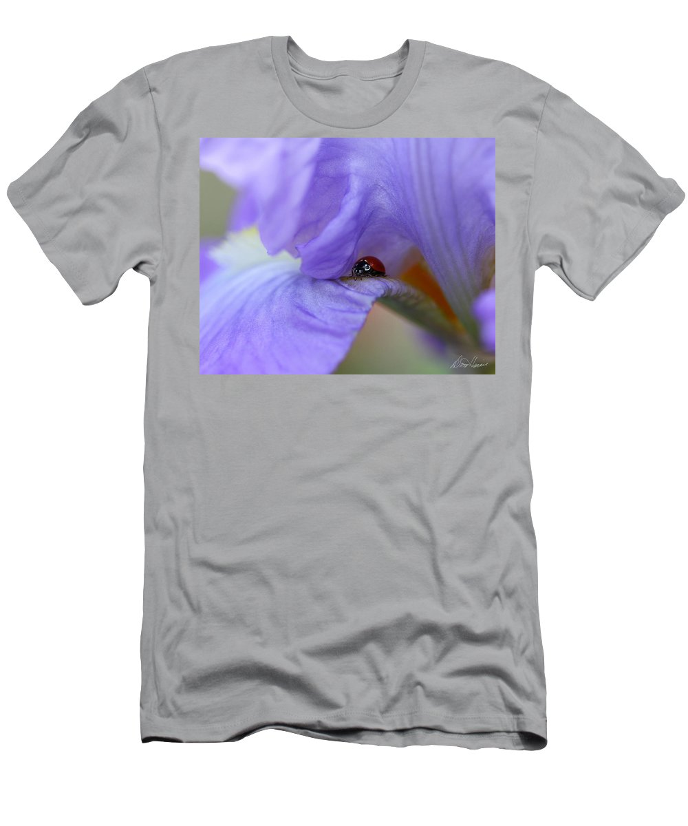 Flower Men's T-Shirt (Athletic Fit) featuring the photograph Ladybug On Iris by Diana Haronis