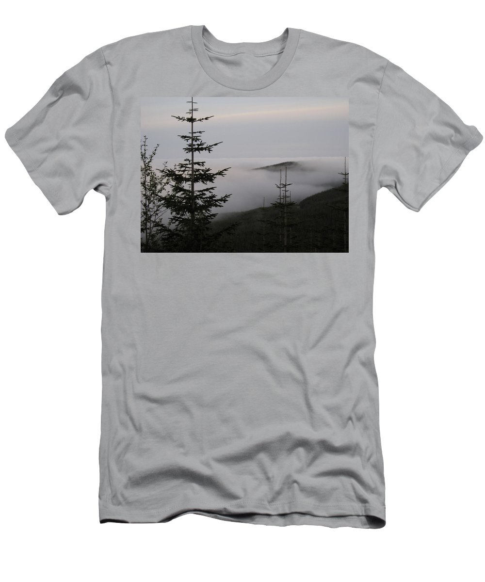 Fog Men's T-Shirt (Athletic Fit) featuring the photograph Lake Of Low Clouds by Catherine Helmick