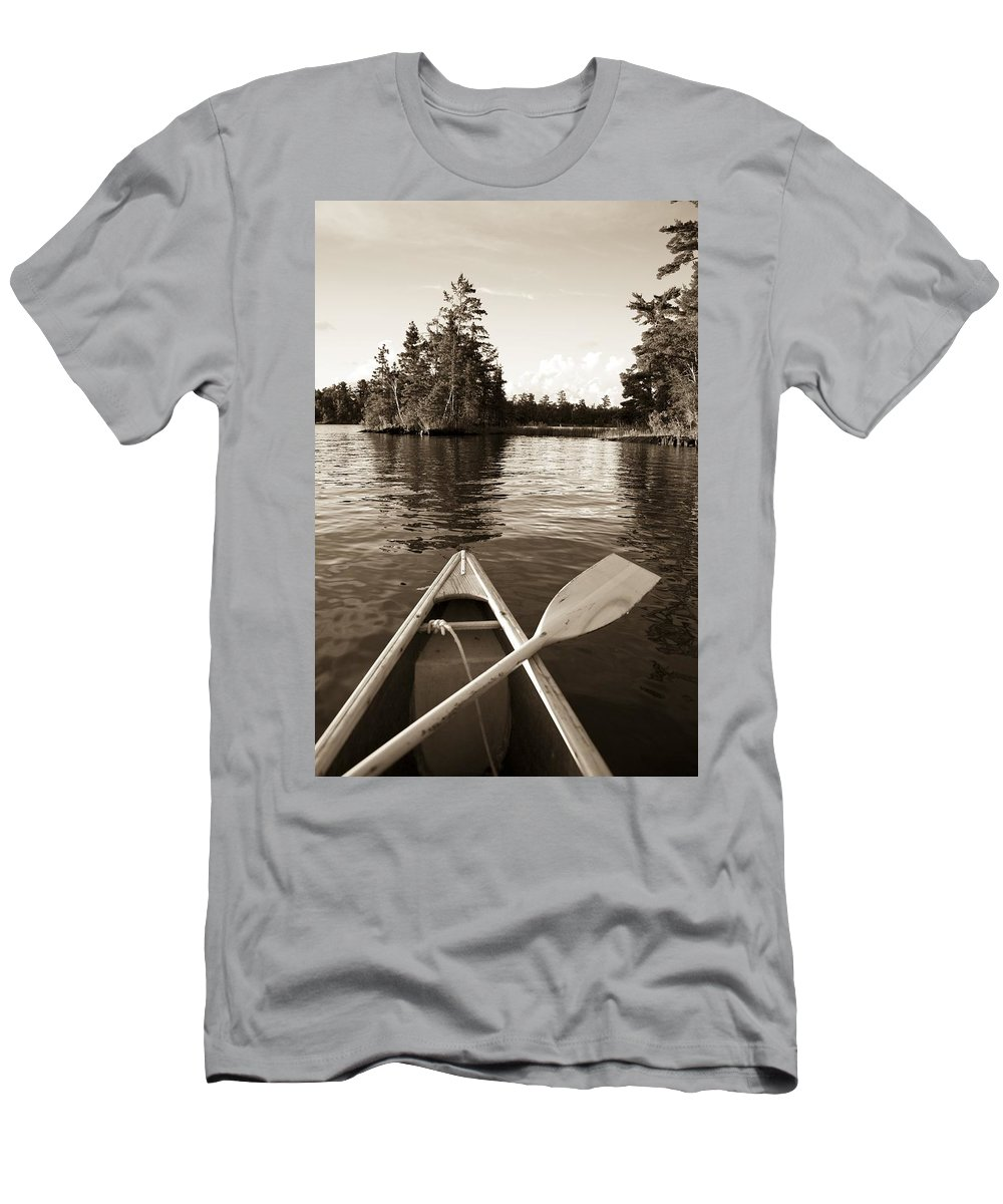 Boat Men's T-Shirt (Athletic Fit) featuring the photograph Lake Of The Woods, Ontario, Canada Boat by Keith Levit