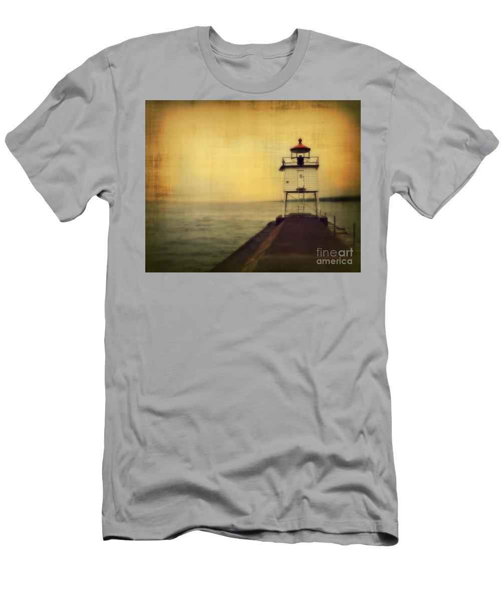 Fog Men's T-Shirt (Athletic Fit) featuring the photograph Lake Superior Classic by Perry Webster