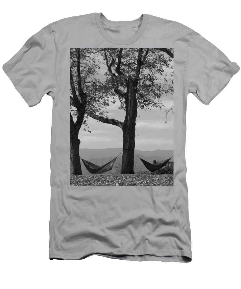 Black And White Photograph Men's T-Shirt (Athletic Fit) featuring the photograph Lazy Days by Ginger Adams