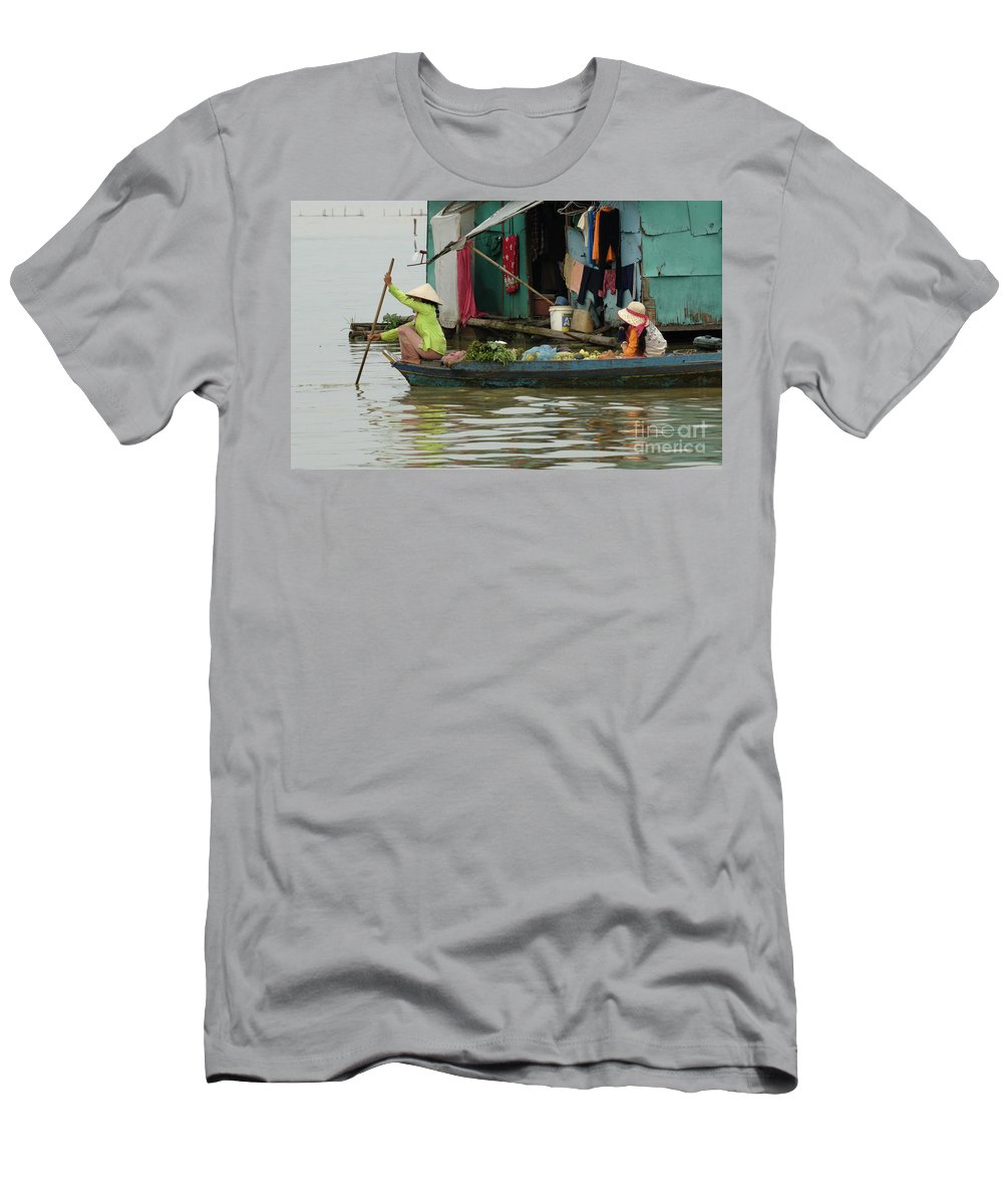 Travel Men's T-Shirt (Athletic Fit) featuring the photograph Life On Lake Yonle Sap 9 by Bob Christopher