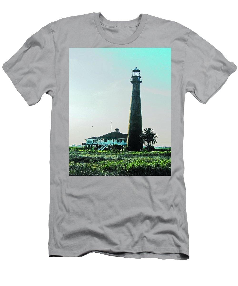Lighthouse Men's T-Shirt (Athletic Fit) featuring the digital art Lighthouse Galveston by Lizi Beard-Ward