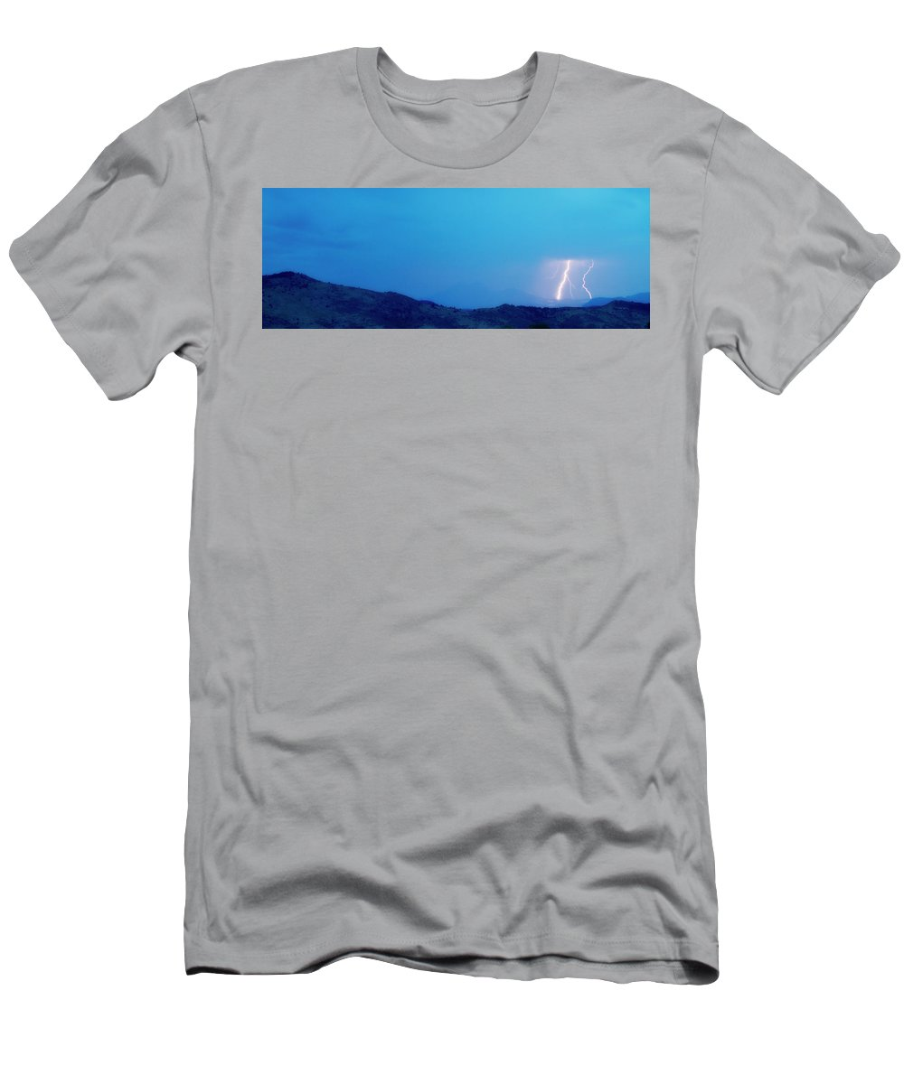 Continental Divide Men's T-Shirt (Athletic Fit) featuring the photograph Lightning Bolts Hitting The Rocky Mountains Continental Divide by James BO Insogna