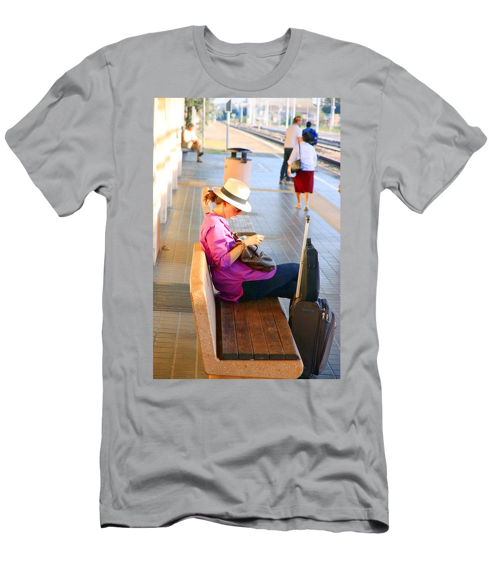 Lone Men's T-Shirt (Athletic Fit) featuring the photograph Lone Traveler by Valentino Visentini