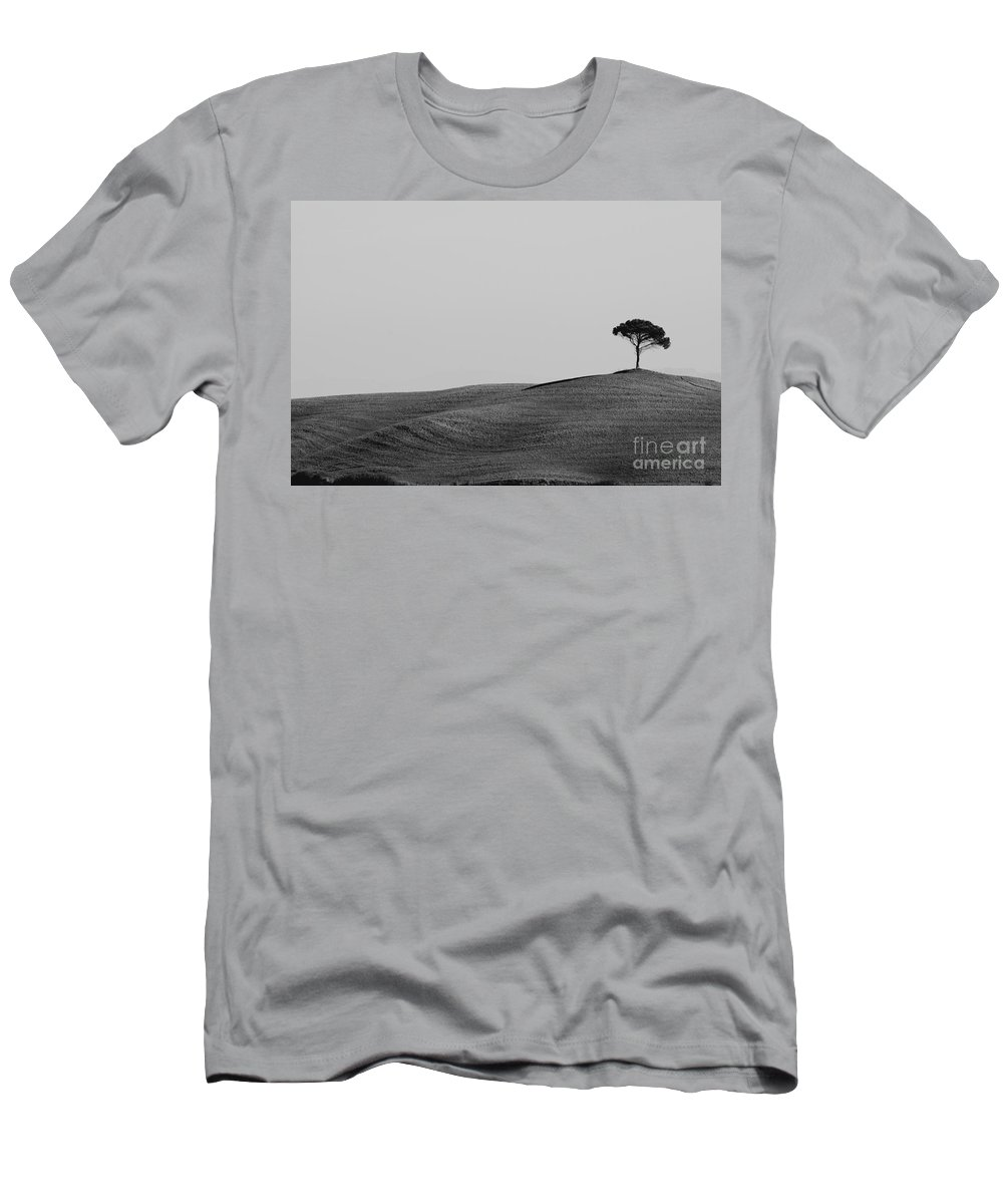 Tree Men's T-Shirt (Athletic Fit) featuring the photograph Lonely Tree On The Hill by Mats Silvan
