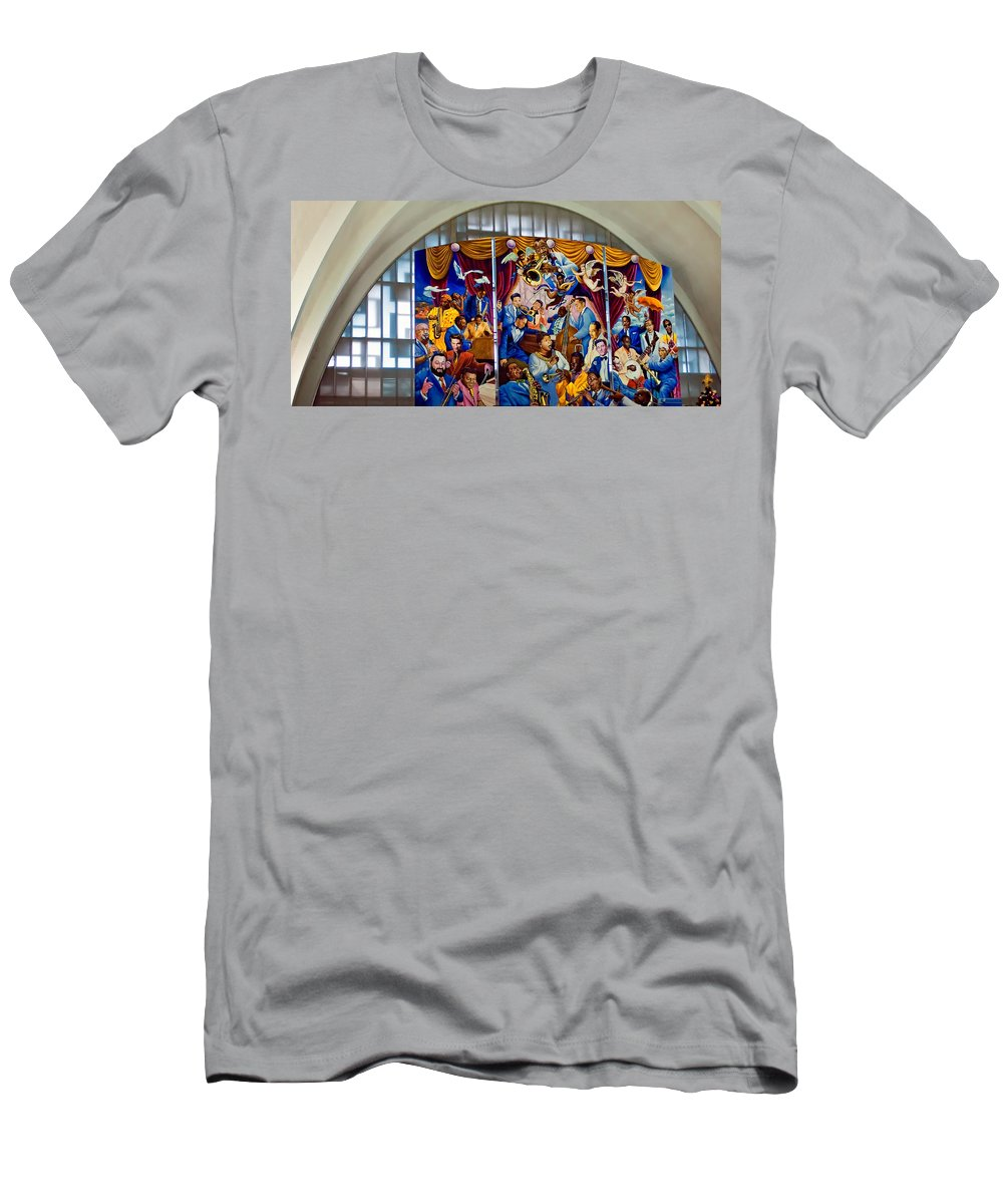 Louis Armstrong Men's T-Shirt (Athletic Fit) featuring the photograph Louis Armstrong Airport by Steve Harrington