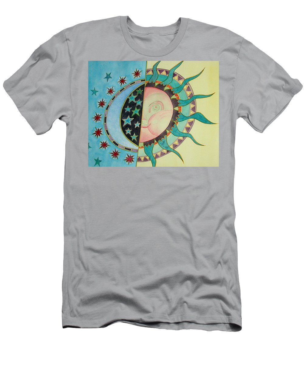 Sun Men's T-Shirt (Athletic Fit) featuring the painting Love You Day And Night by Anna Ruzsan