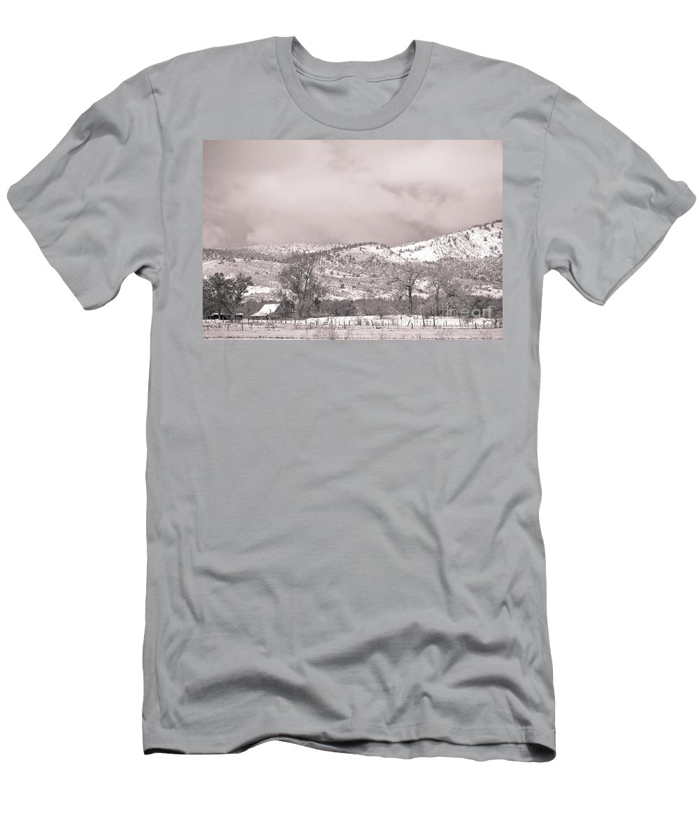 'low Clouds' Men's T-Shirt (Athletic Fit) featuring the photograph Low Clouds On The Colorado Rocky Mountain Foothills 3 Bw by James BO Insogna