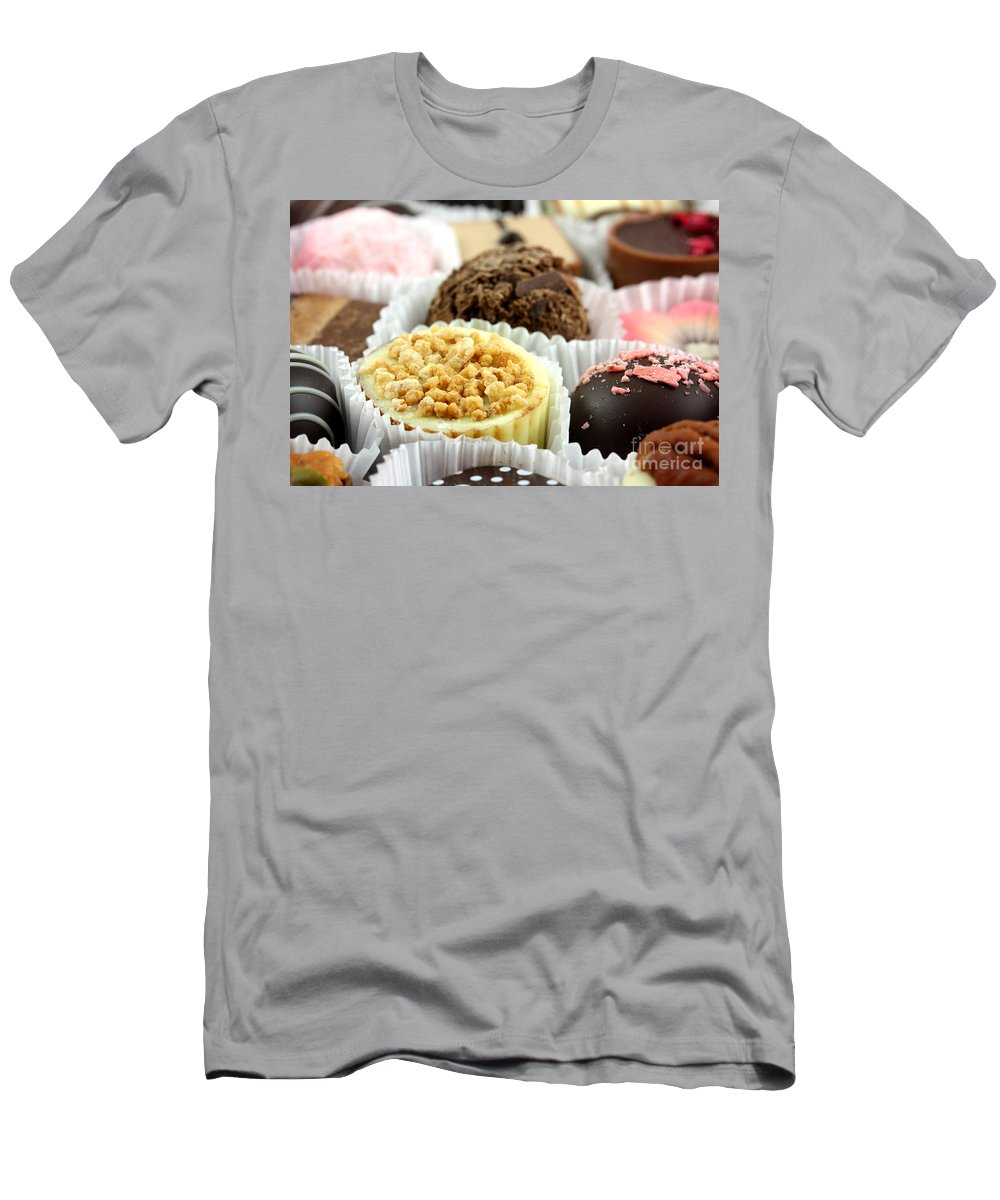 Chocolate Men's T-Shirt (Athletic Fit) featuring the photograph Luxury Individual Chocolates by Simon Bratt Photography LRPS