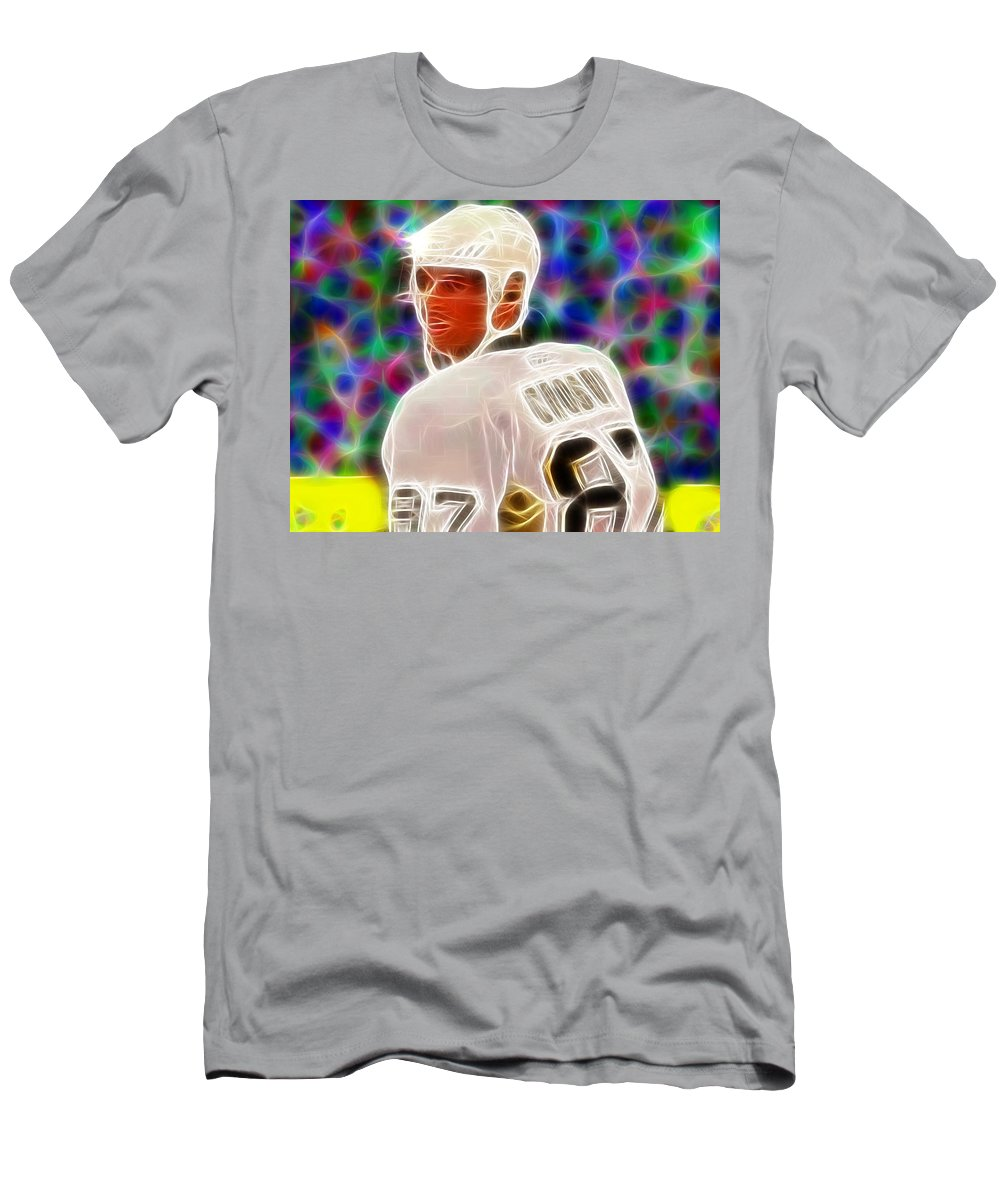 Sidney Crosby Men's T-Shirt (Athletic Fit) featuring the painting Magical Sidney Crosby by Paul Van Scott